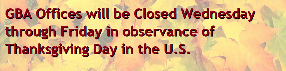 Offices are closed for Thanksgiving, Wednesday through Friday.